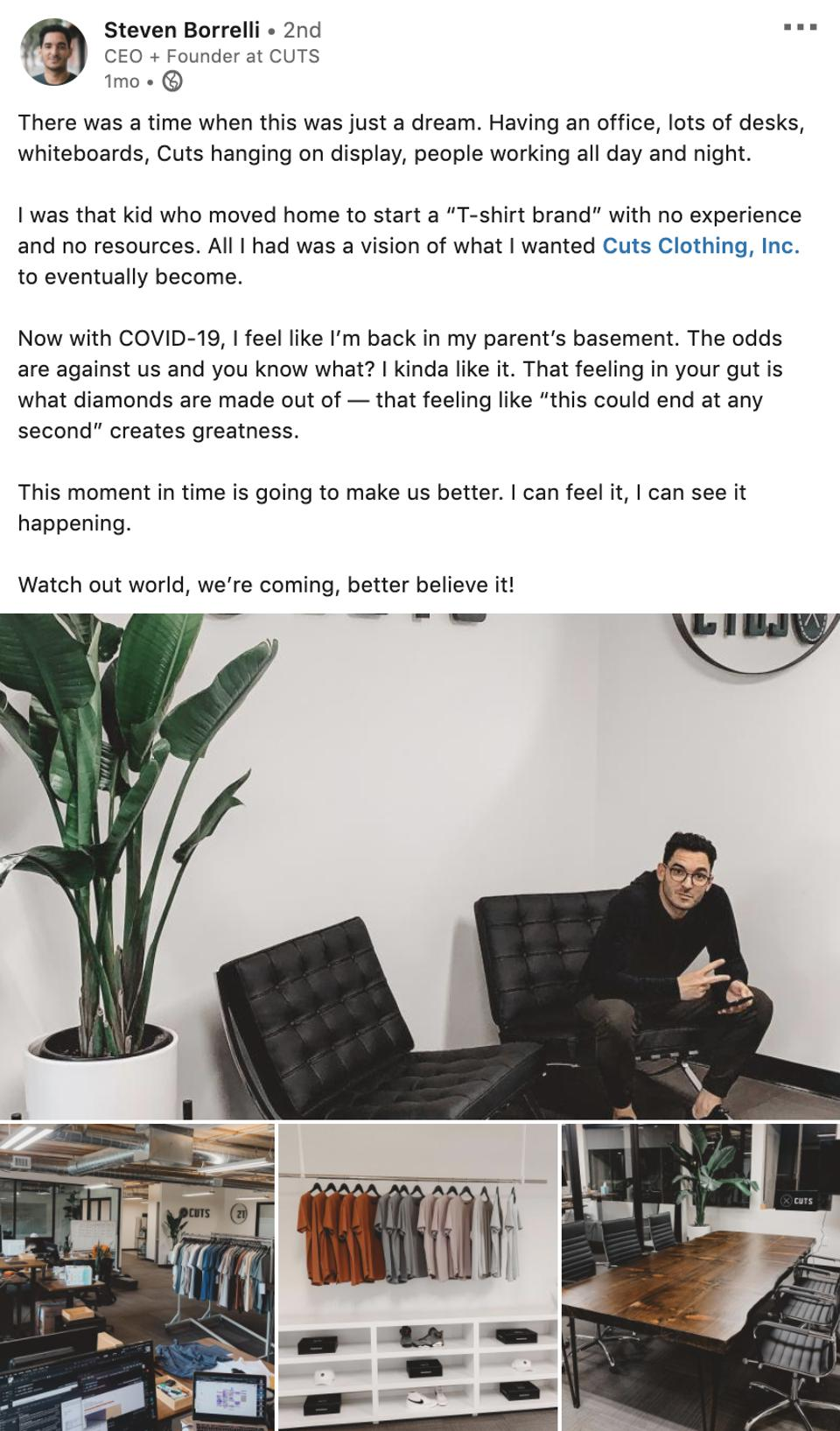 Steven Borrelli's Linkedin update describing how he and his company, Cuts Clothing have been managing the COVID-19 pandemic