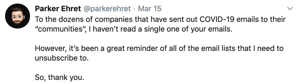 Parker Ehret via Twitter about his experience with COVID-19 emails sent out by brands