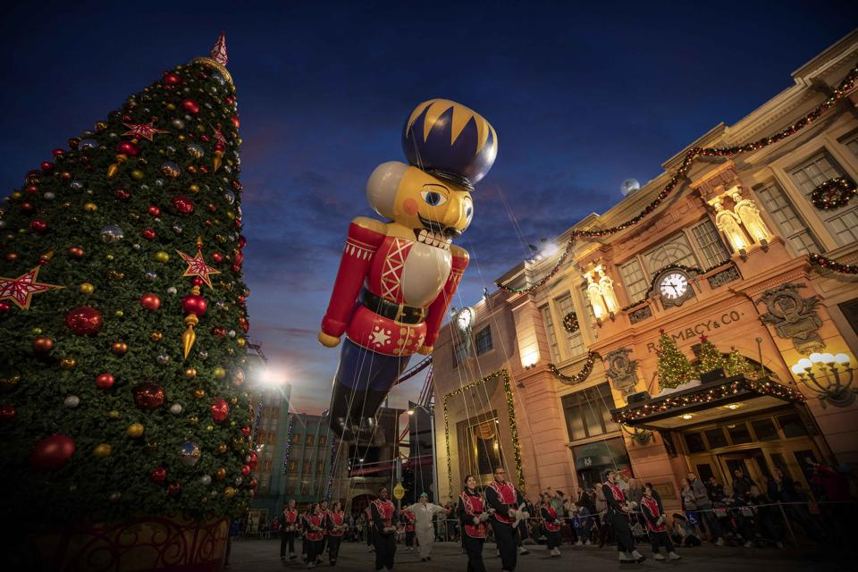 The Christmas tree at Universal Orlando is so big that it needs to be built in sections