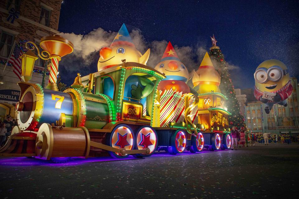 Colorful floats comprise around half of the holiday parade at Universal Orlando