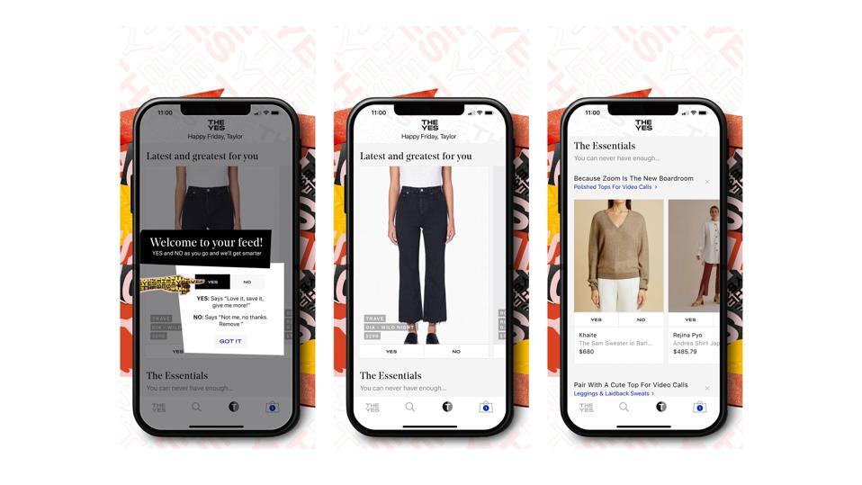 "Yes App对产品进行微调,以反映个人消费者的风格和品牌偏好。 旨在通过不断发展的算法在每个购物者周围建立一个""商店"",没有两个购物者拥有与他们的商品相匹配的提要或搜索体验。"
