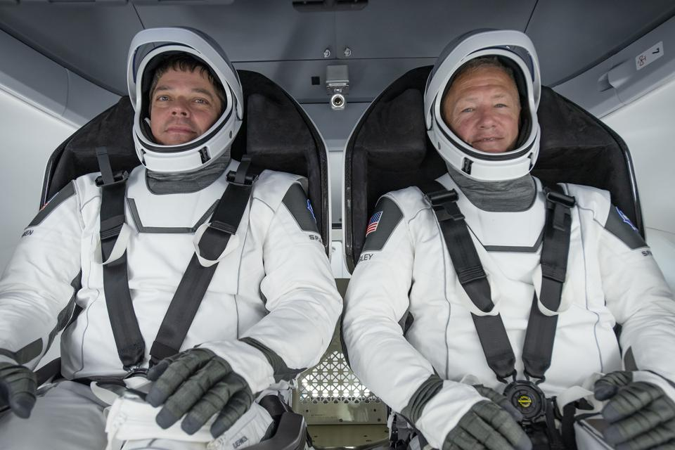 NASA astronauts Doug Hurley and Bob Behnken will wear special SpaceX spacesuits.