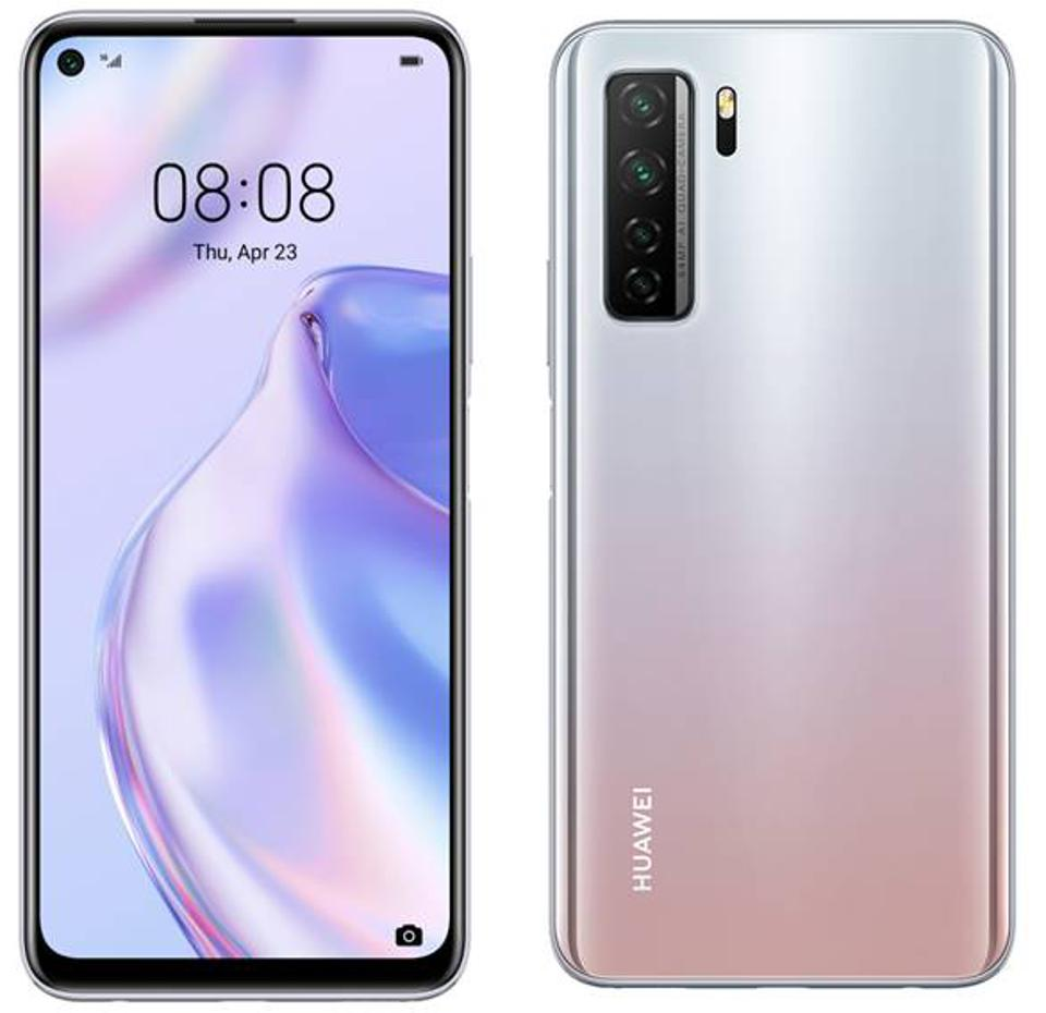 The cameras stand out on the Space Silver Huawei P40 Lite