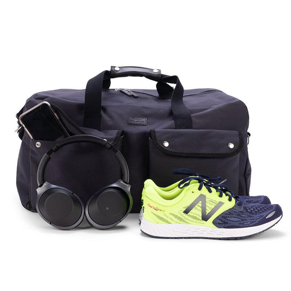 blue bag with sneakers and headphones