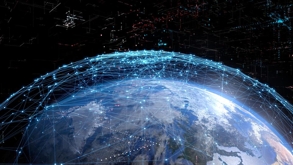 Global communication network concept.