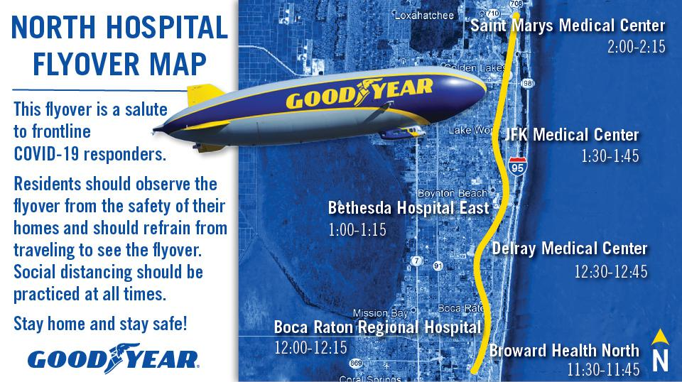 Flyover route for Goodyear Blimp