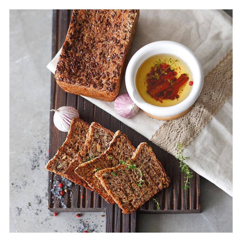 Fermented buckwheat and linseed bread, by Len & Grechka