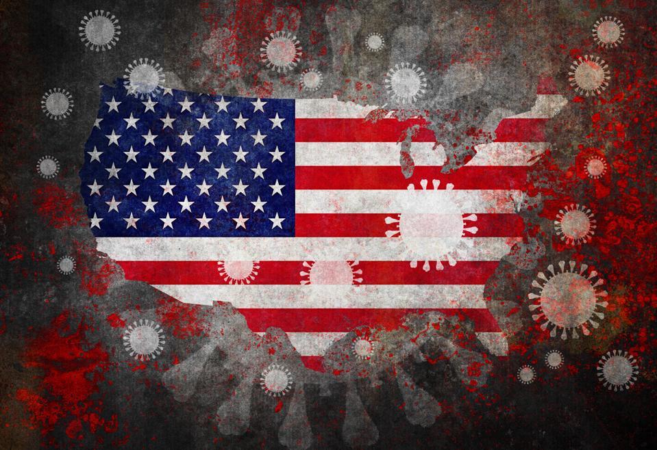 Coronavirus COVID-19 and USA map with Flag