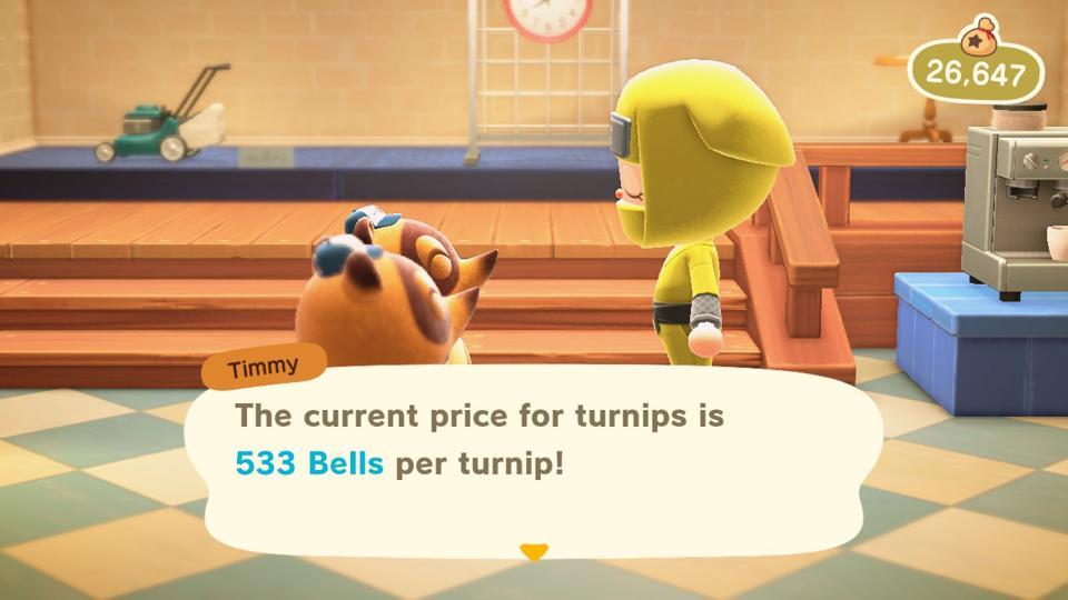 Checking my turnip price with Timmy.