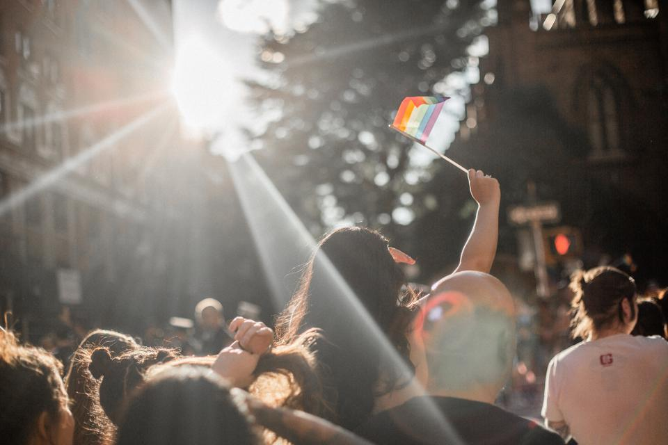 Pride celebrations with sunlight streaming through the trees. Girl waving pride flag