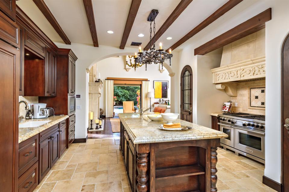 Kitchen island beamed wood