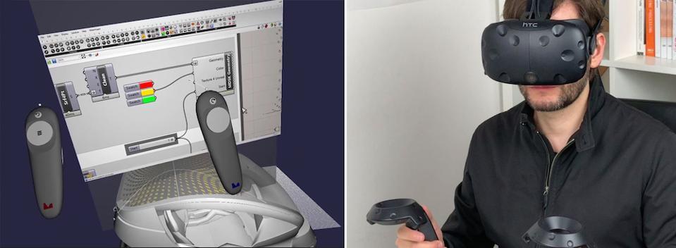 Arturo Tedeschi uses a VR headset to explore Iris in the virtual world