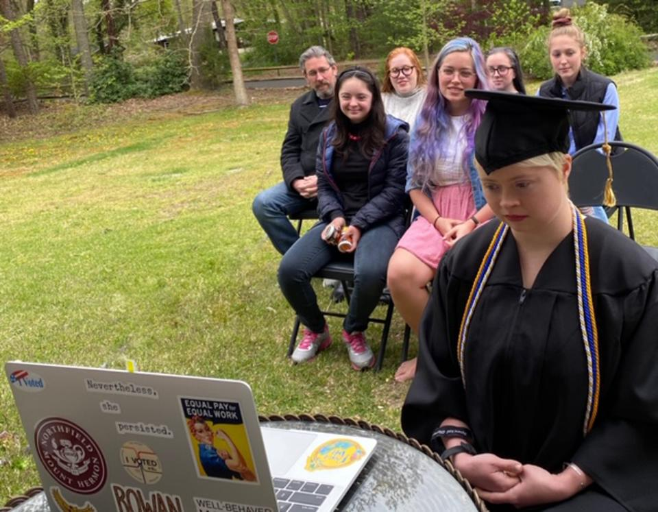 AnnaRose Rubright graduates from Rowan University over Zoom.