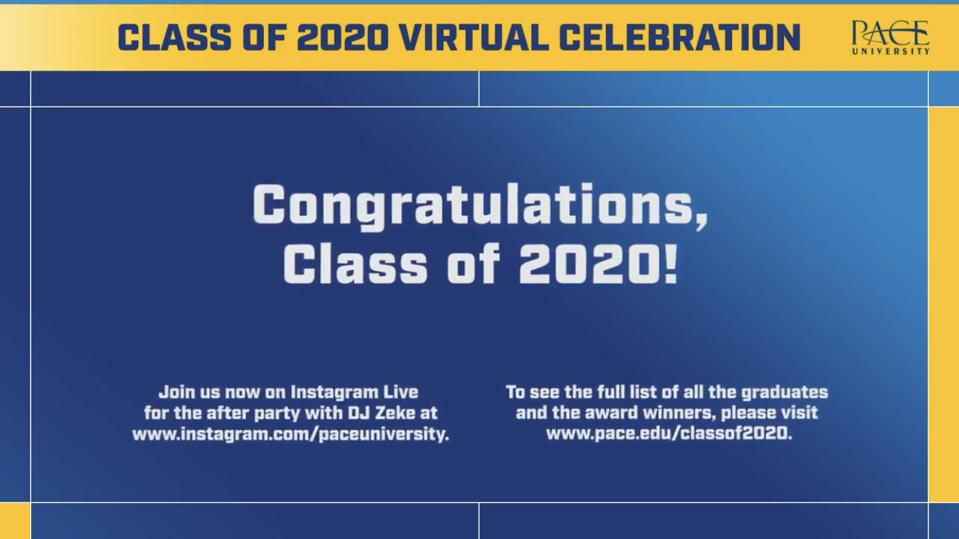An image from the virtual commencement celebration.