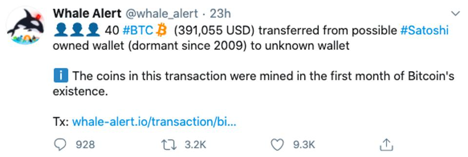 Whale Alert - 40 BTC On The Move