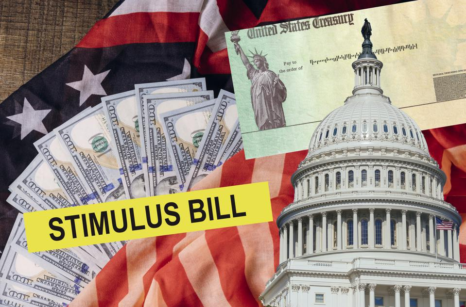 Senate stimulus deal includes individual checks virus economic stimulus plan US 100 dollar bills currency on American flag Global pandemic Covid 19 lockdown
