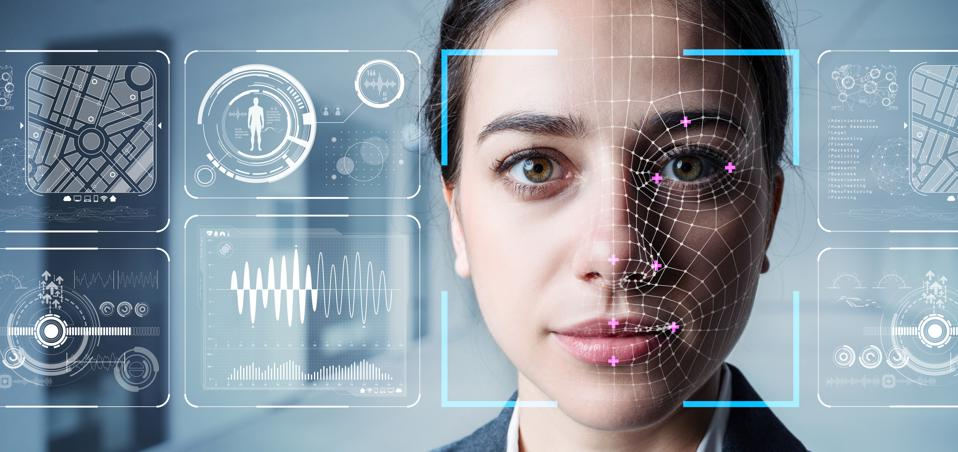 Face with biometric graphics, symbolizing analysis / profiling of a human's identity