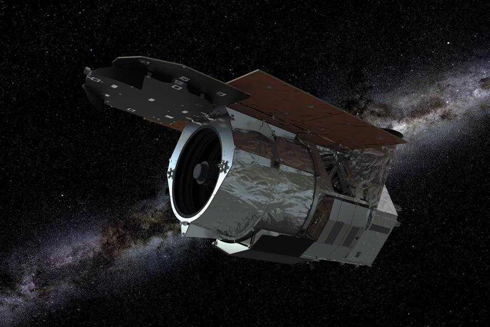 This is an artist's illustration of the Nancy Grace Roman Space Telescope spacecraft against a starry background. The Roman Space Telescope is a Hubble-sized telescope planned for launch in the mid-2020s. It will revolutionize astronomy by building on the science discoveries and technological leaps of the Hubble and James Webb space telescopes.