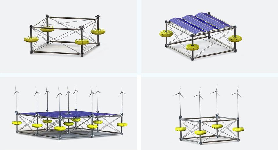 Clockwise from top left: basic wave energy conversation (WEC) then with solar and wind