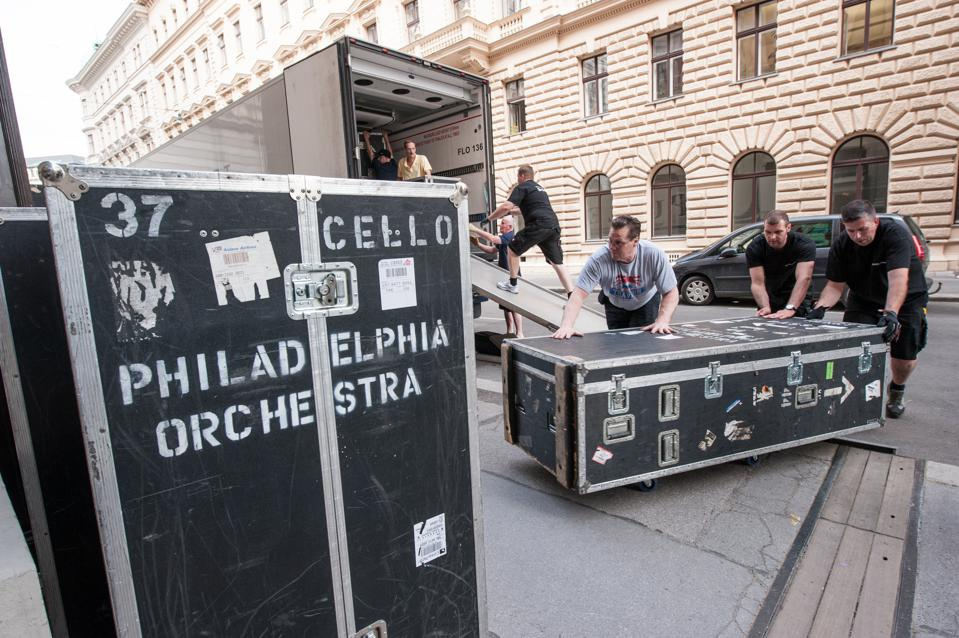 The Orchestra's stage personnel load in (and load out) all the Orchestra's trunks and other equipment.