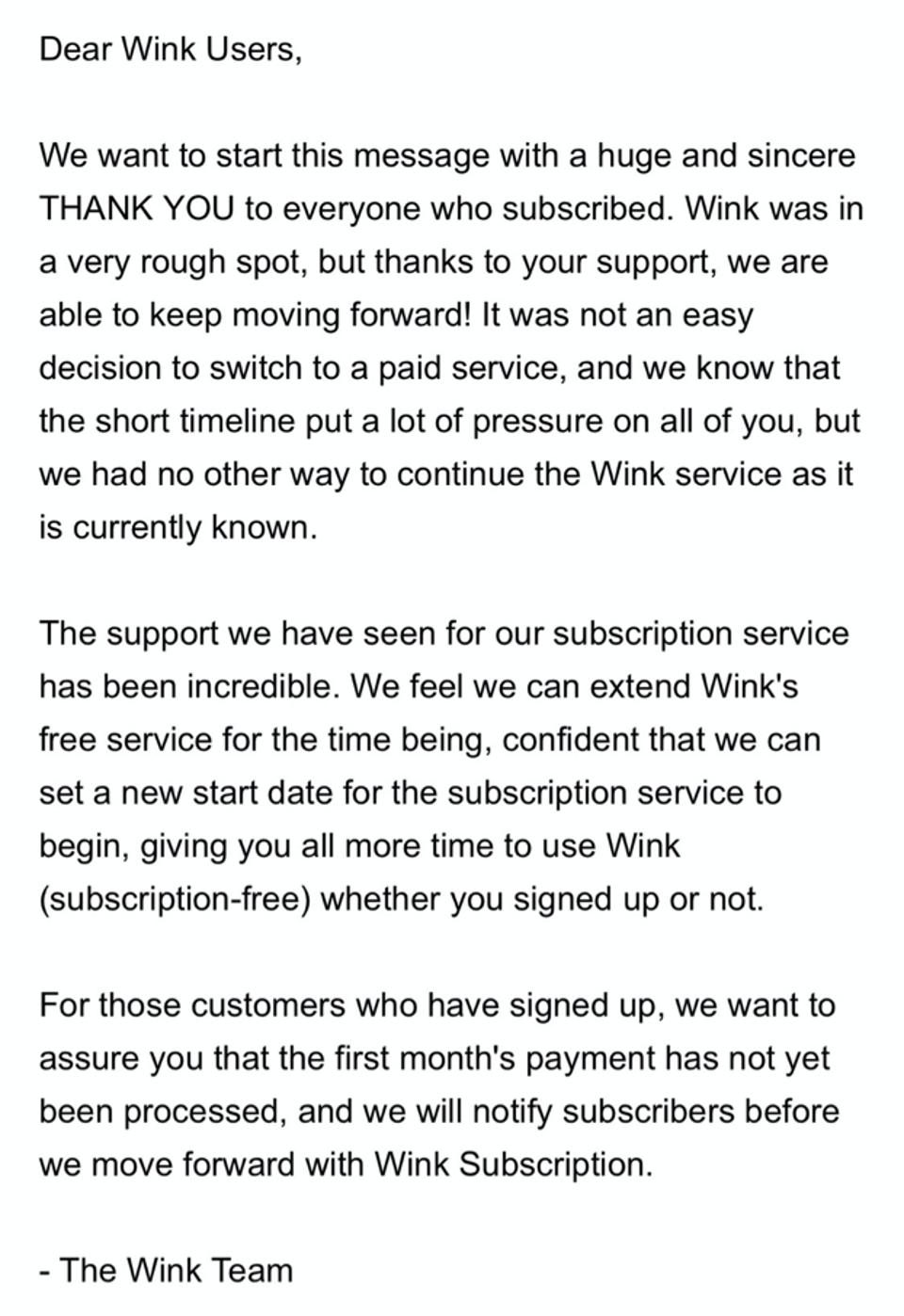 Screenshot of Wink's notification informing customers about its business model change.