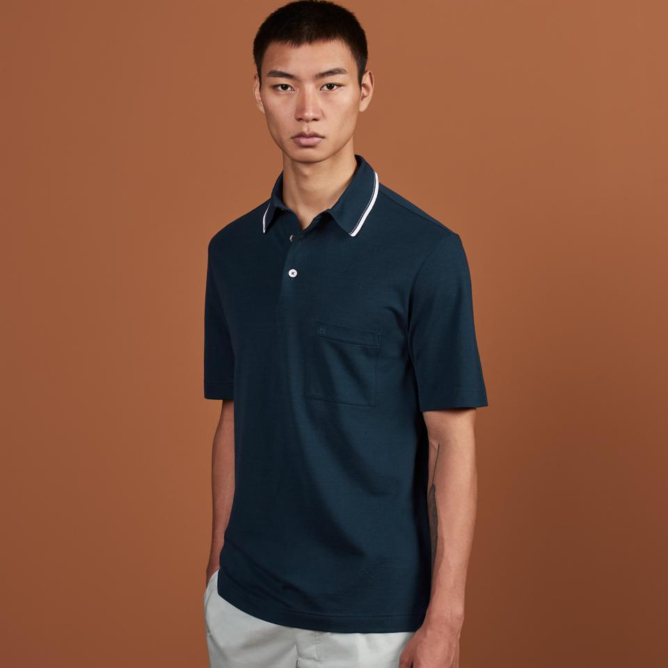 H embroidered buttoned polo shirt, $375