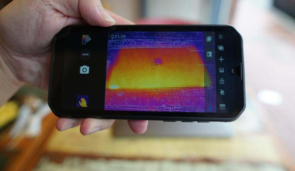 The FLIR camera can pick up heat emitting from the MacBook Pro.