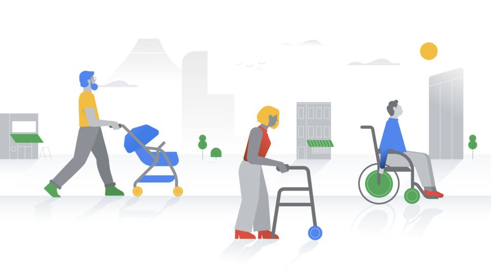 Artist's renditions of a woman using a walker and a man in a wheelchair