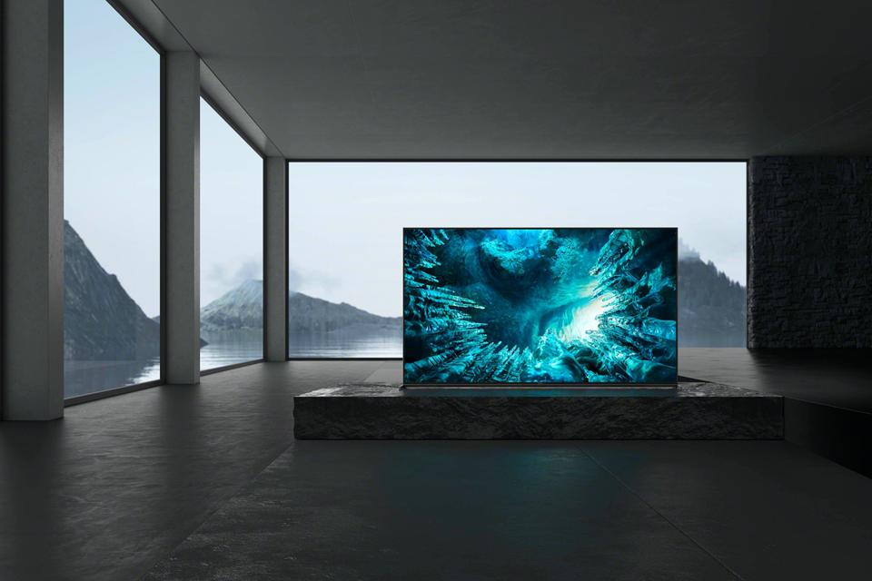 Sony  Z8H 8K TV in a minimalist room with floor-to-ceiling windows