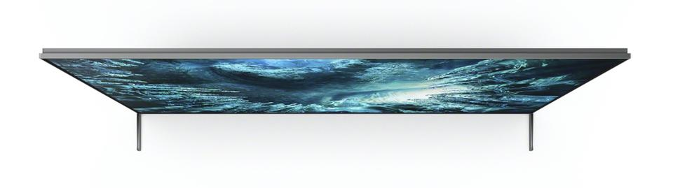 Top view of the Sony Z8H 8K HDR TV showing how slim it is