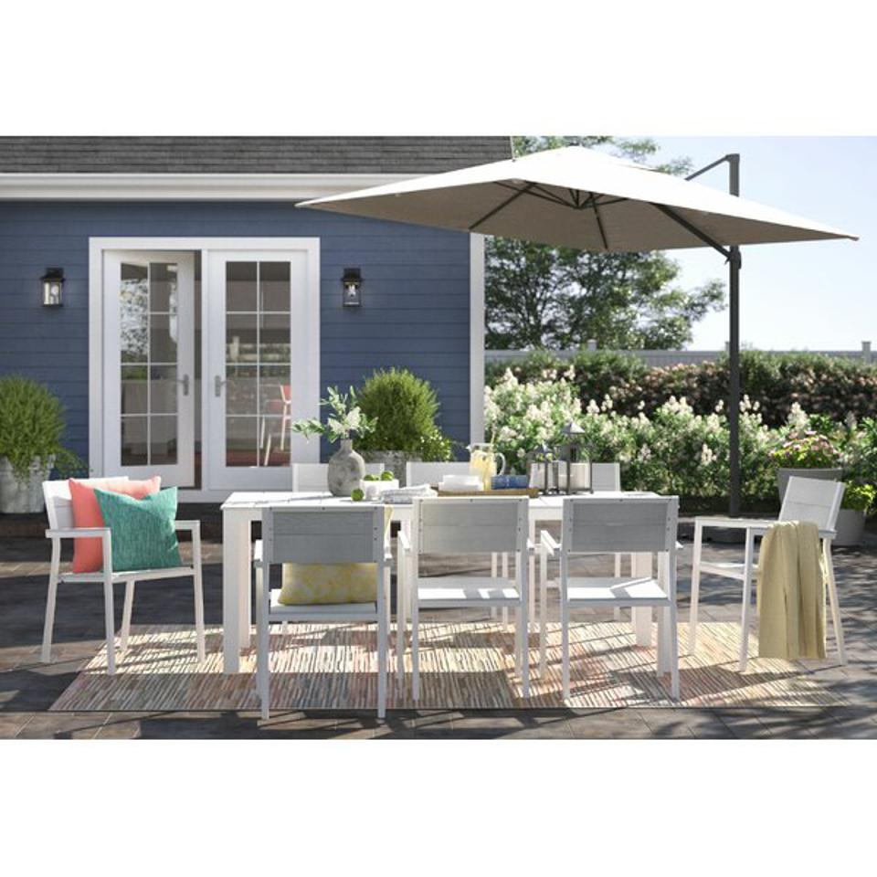 A white and grey patio set