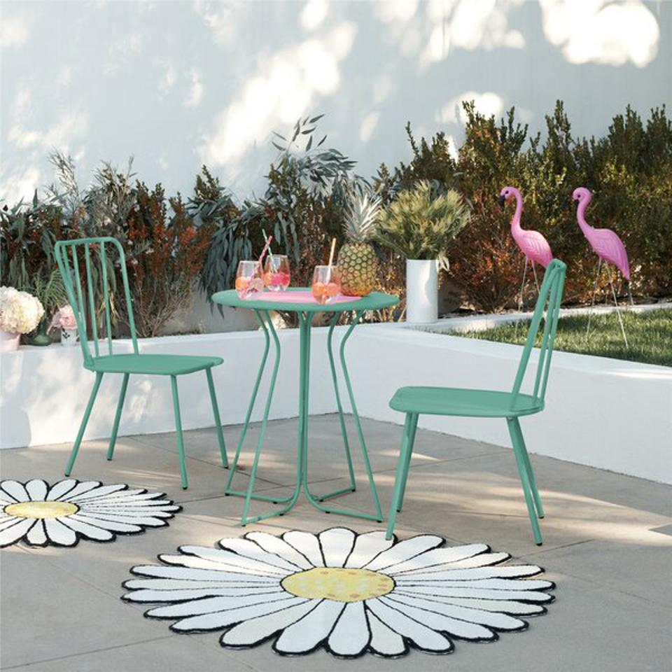 A turquoise bistro set