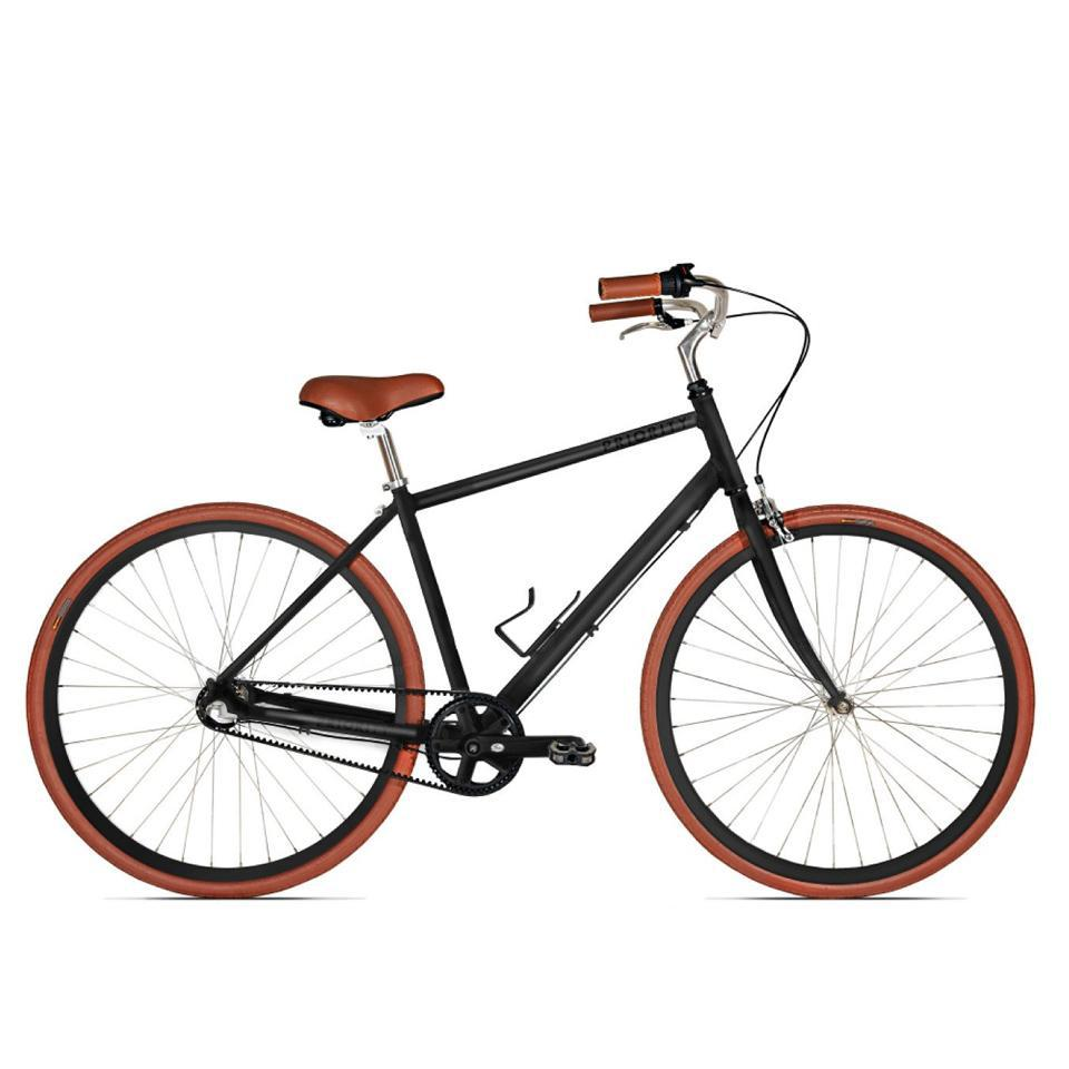 A classic style bicycle with leather accents.