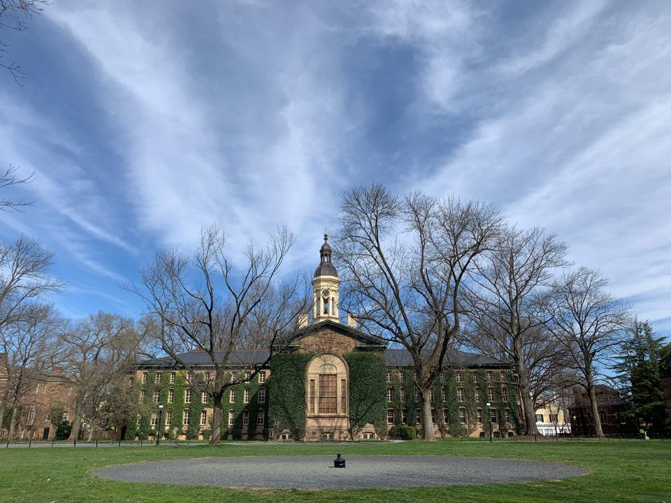 Nassau Hall from Princeton University's Cannon Green quadrangle.