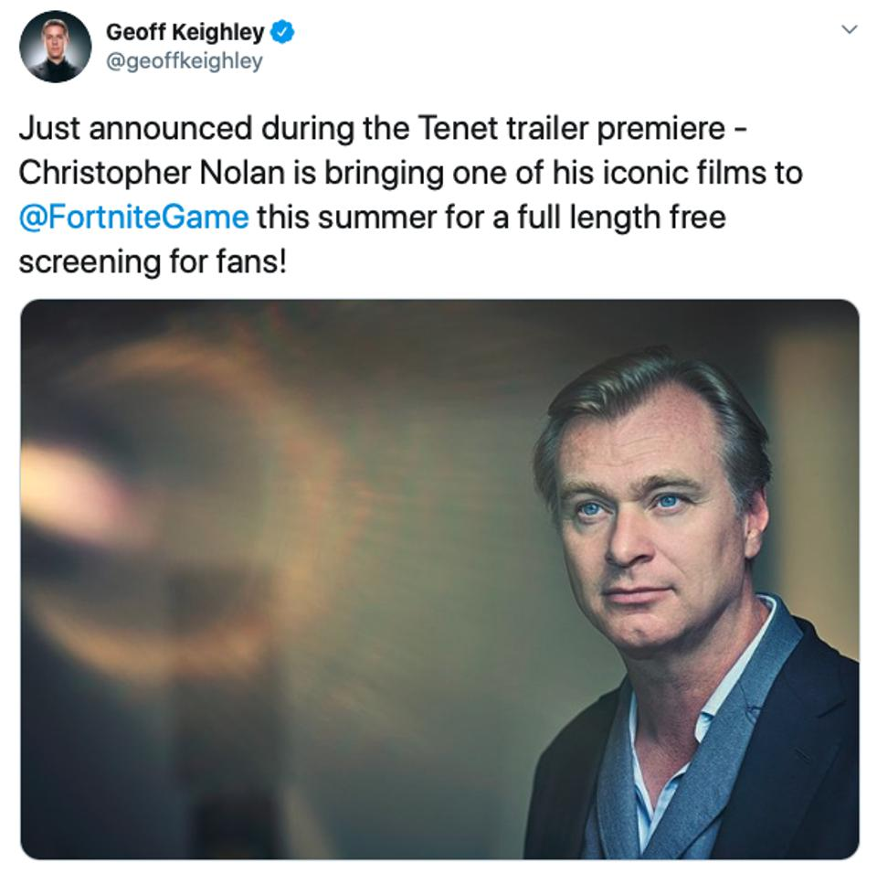 Screenshot of a tweet announcing the screening of a Christopher Nolan movie in Fortnite this summer.