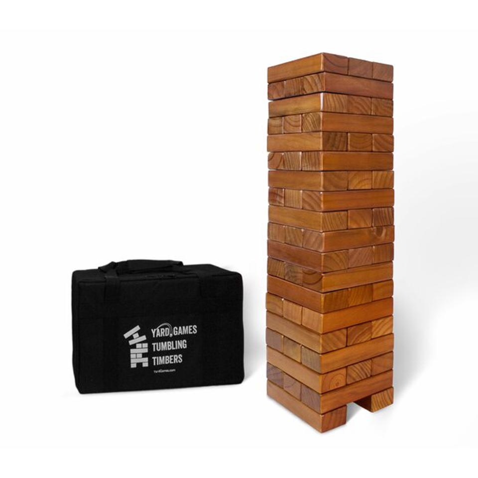 Tumbling timbers giant stacking game pieces, with carrying bag