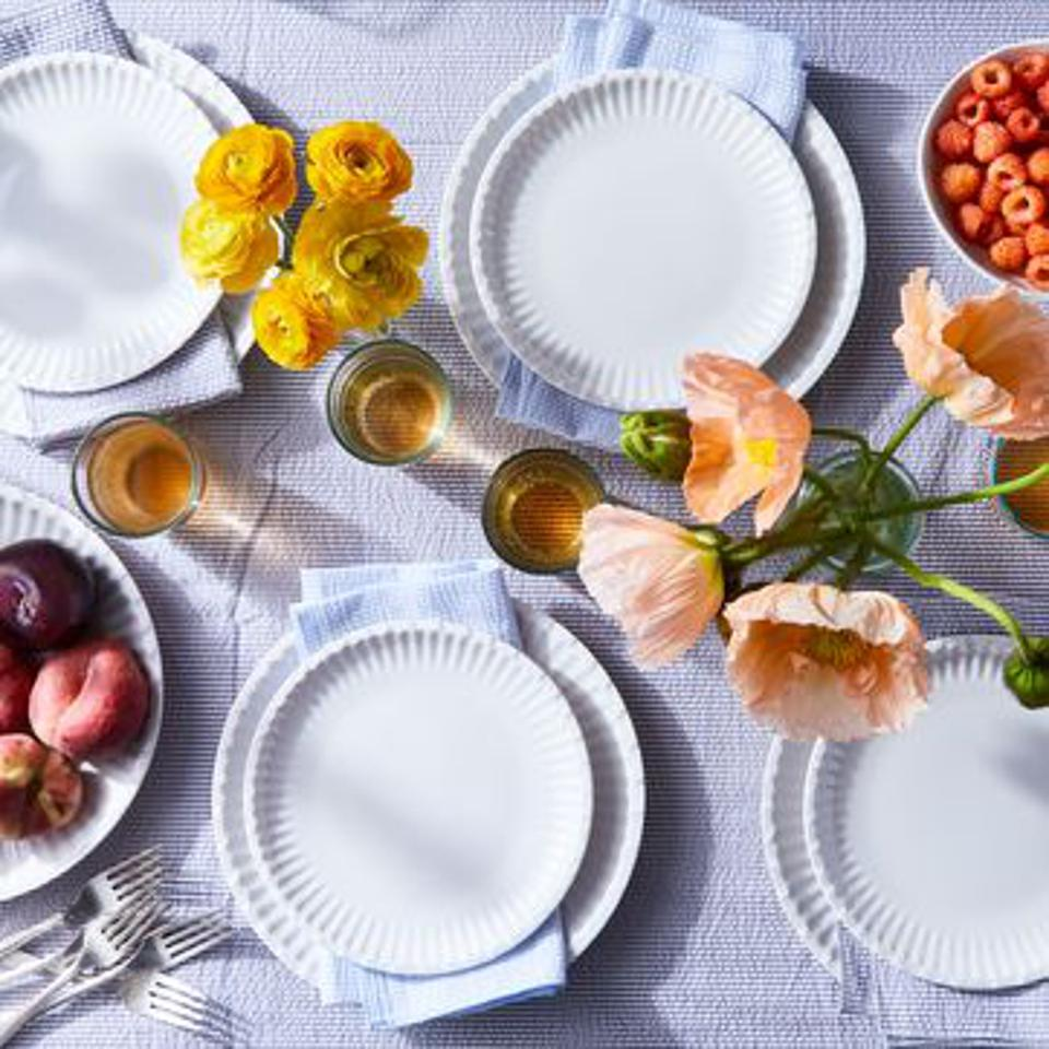 White Melamine plates with flowers and berries