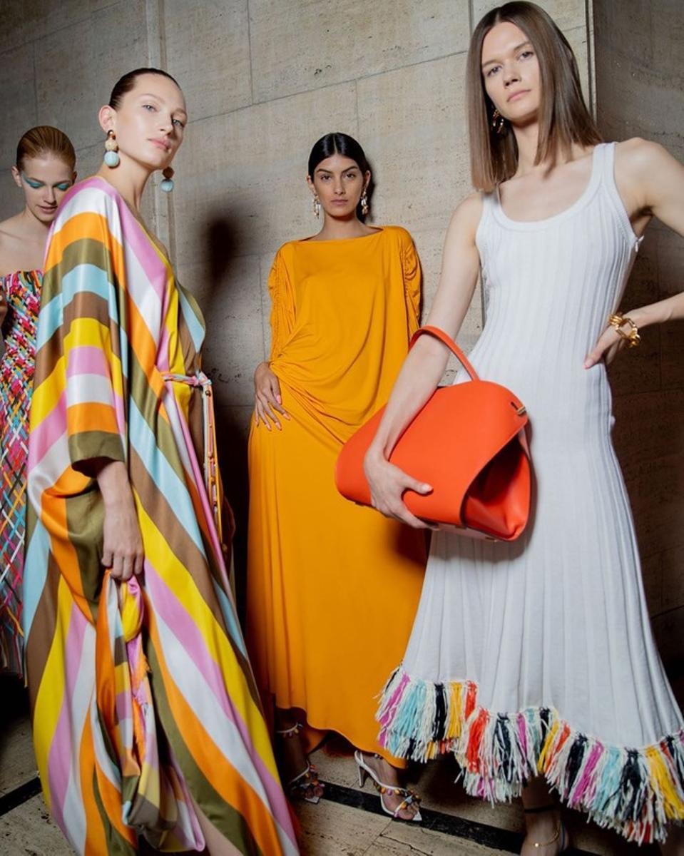 Oscar de la Renta's colorful spring dresses, can be found at Moda Operandi.
