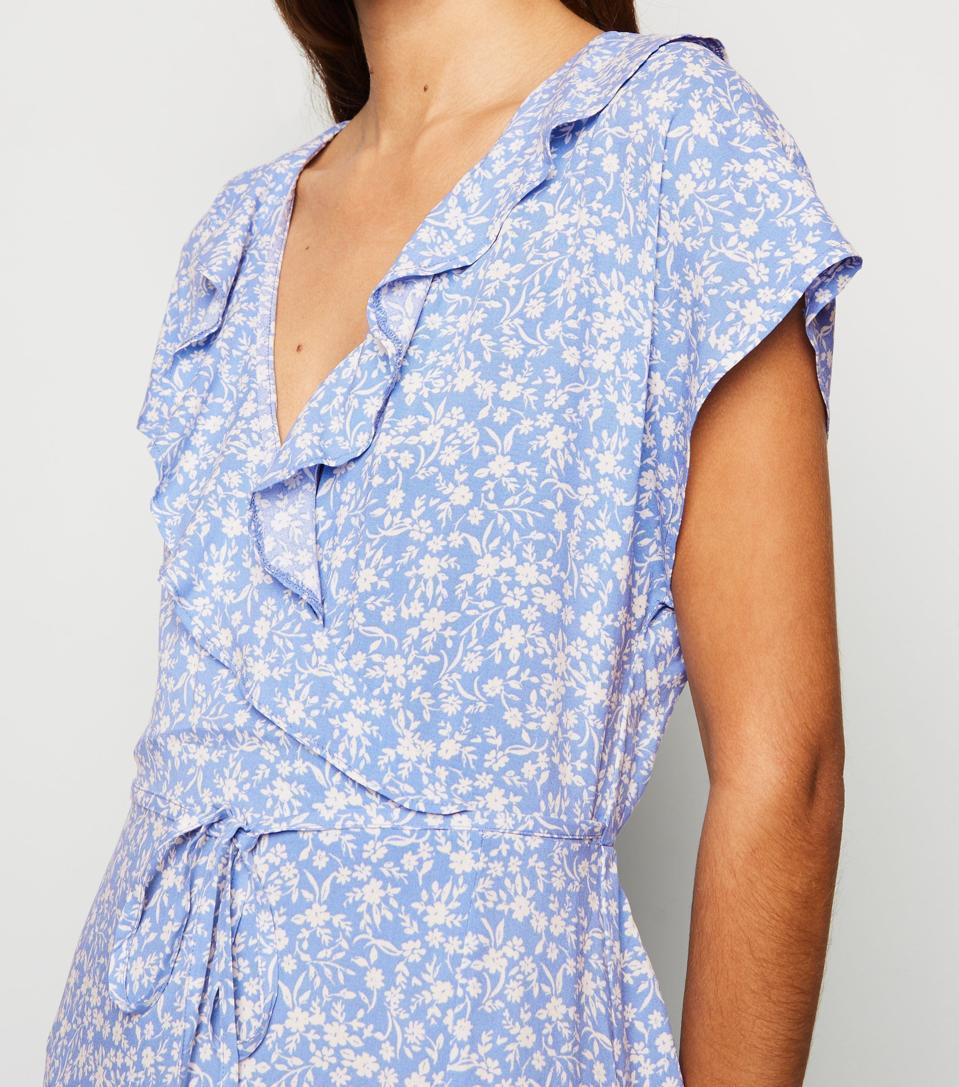 Blue Floral Ruffle Side Split Midi Dress by New Look: