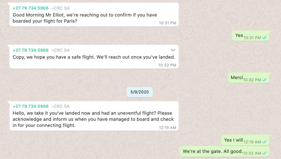 WhatsApp messages between the FocusPoint ops center and the author on the day of travel.