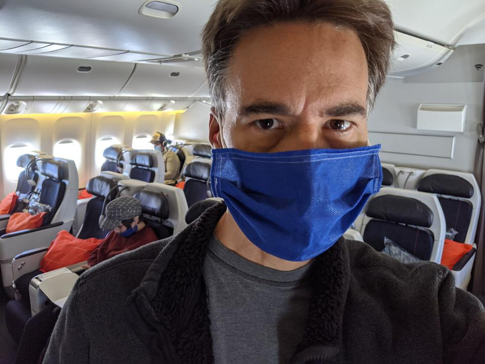 The author on a nearly empty Air France Flight 66 from Paris to Los Angeles on May 9, 2020.