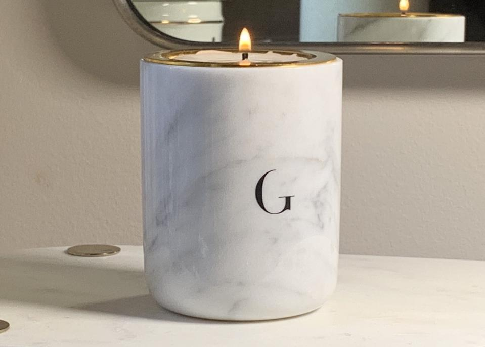 Gilded Carrera White Marble Lifestyle Candle English Garden Luxury