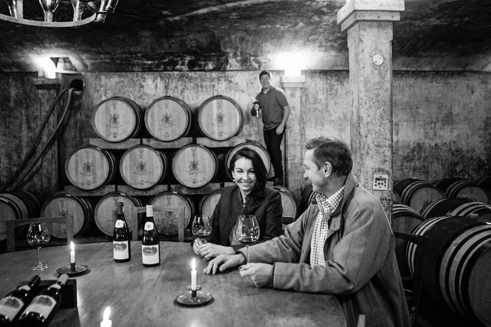 Anthony and Olive Hamilton Russell in the Hamilton Russell Vineyards barrel  cellar.