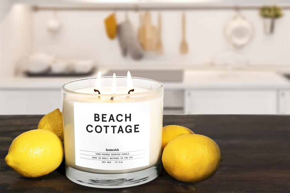 Candle with lemons