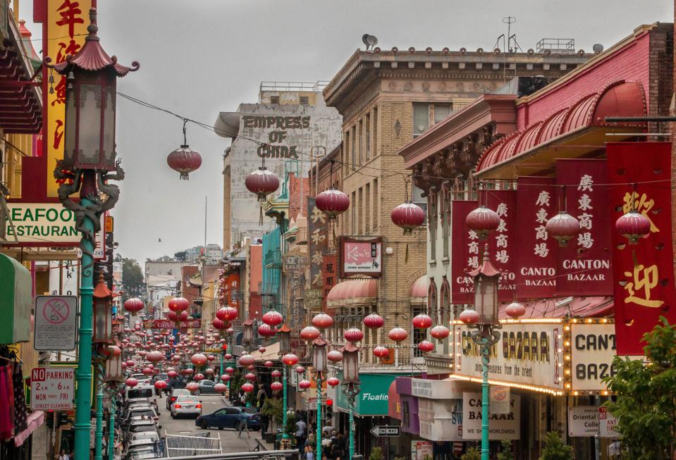 View Of Street In China Town, San Francisco