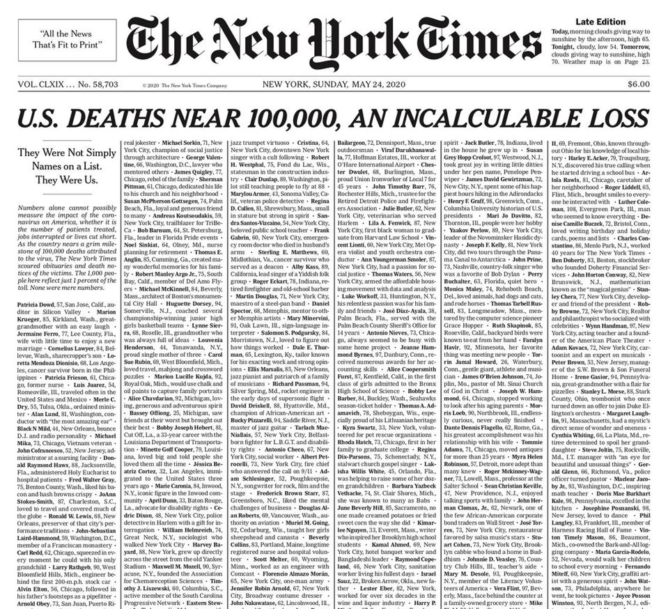 New York Times, Front Page, May 24, 2020