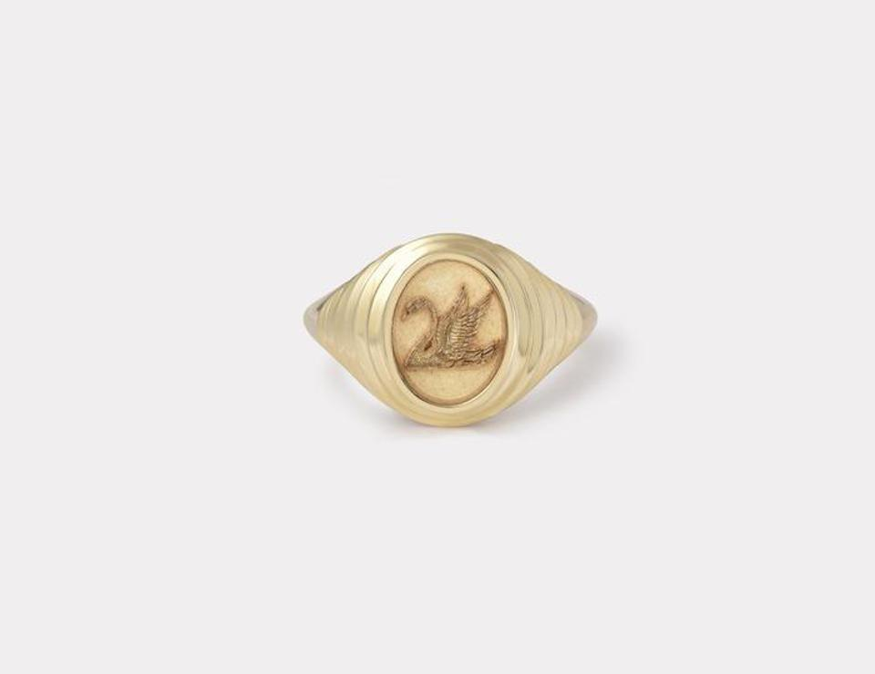Tiered Fantasy Swan Signet Ring by Retrouvaí