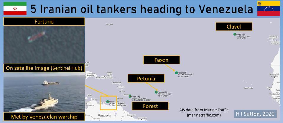 5 Iranian tankers heading to Venezuela.