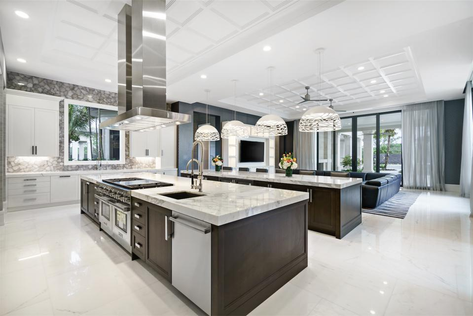 Downsview kitchen, double islands