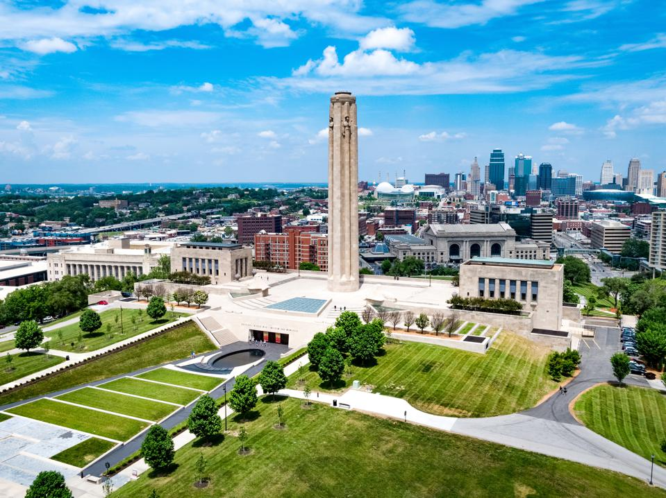 National WWI Museum and Memorial in Kansas City, aerial photo.